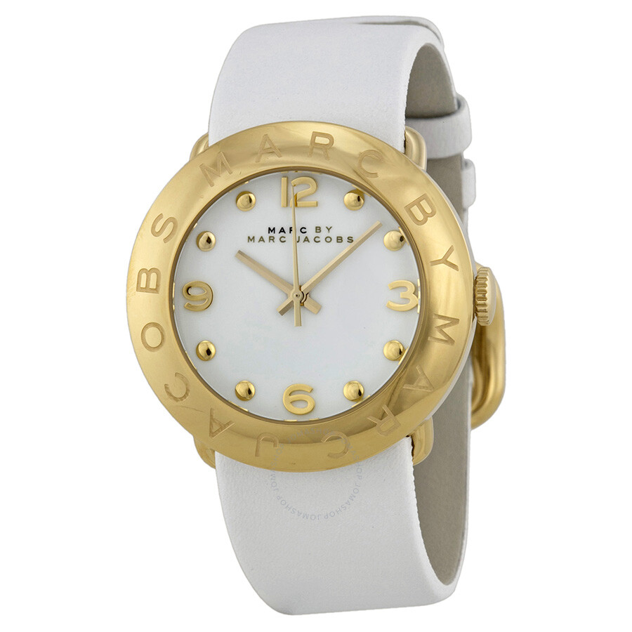 601eedcda1e62 Marc by Marc Jacobs Amy White Dial Gold-tone White Leather Ladies Watch  MBM1150 ...