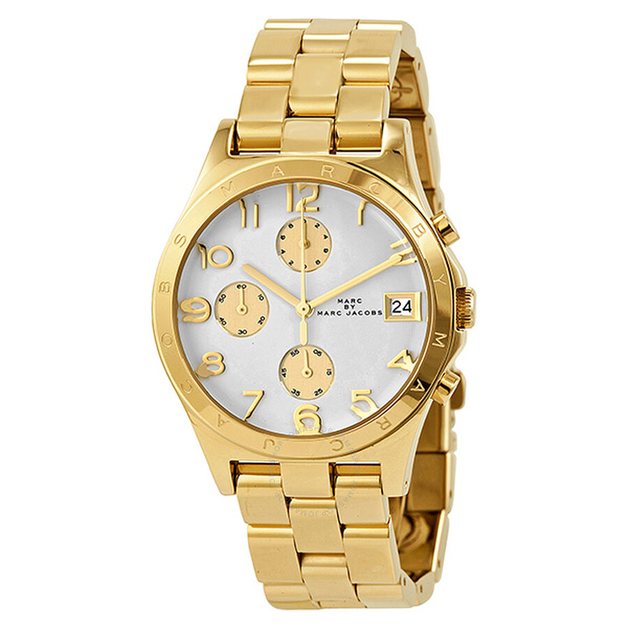 Marc by Marc Jacobs Henry Chronograph White Dial Gold-plated Unisex Watch MBM3039 ...