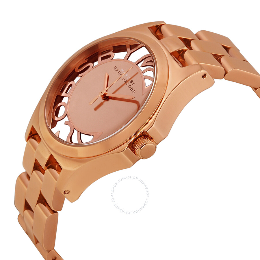 c4e07498e ... Marc by Marc Jacobs Henry Skeleton Dial Rose Gold-Tone Steel Ladies  Watch MBM3207 ...
