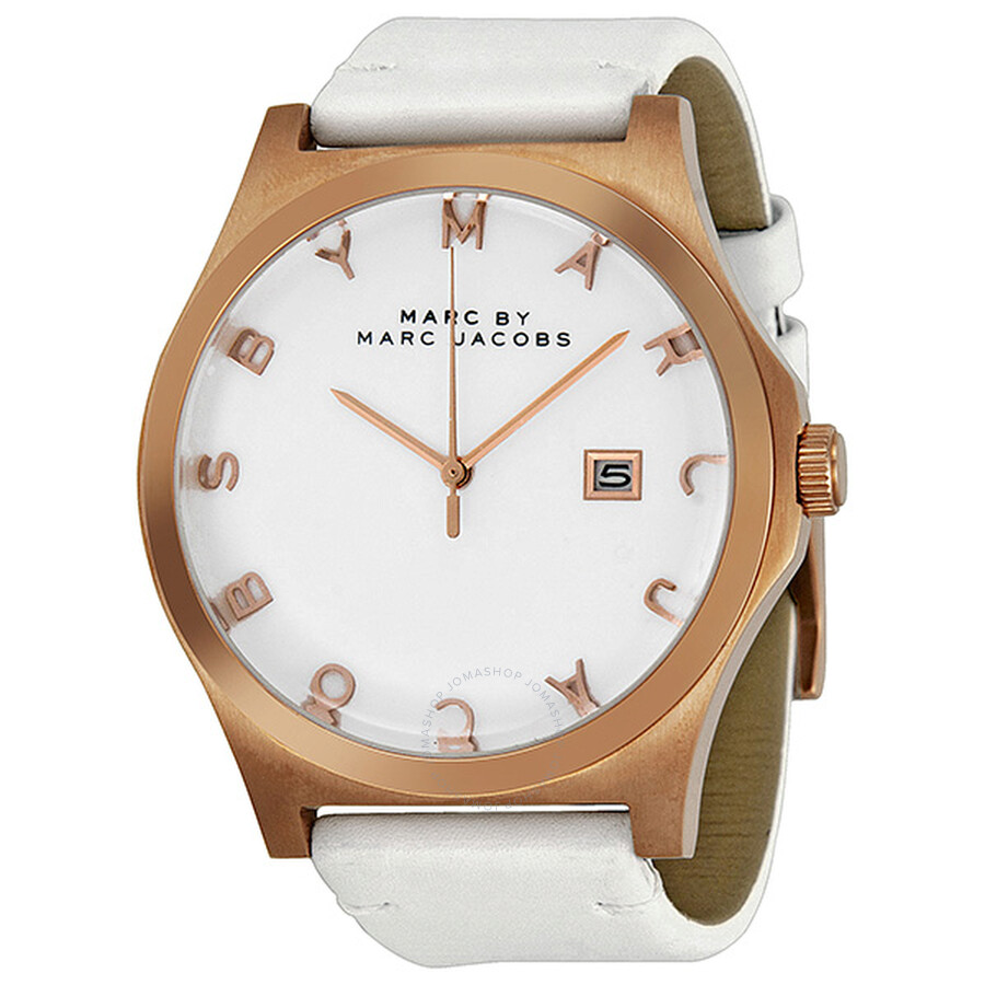 e70e76d9f2341 Marc by Marc Jacobs Henry White Dial Rose Gold Ion-plated White Leather  Unisex Watch ...