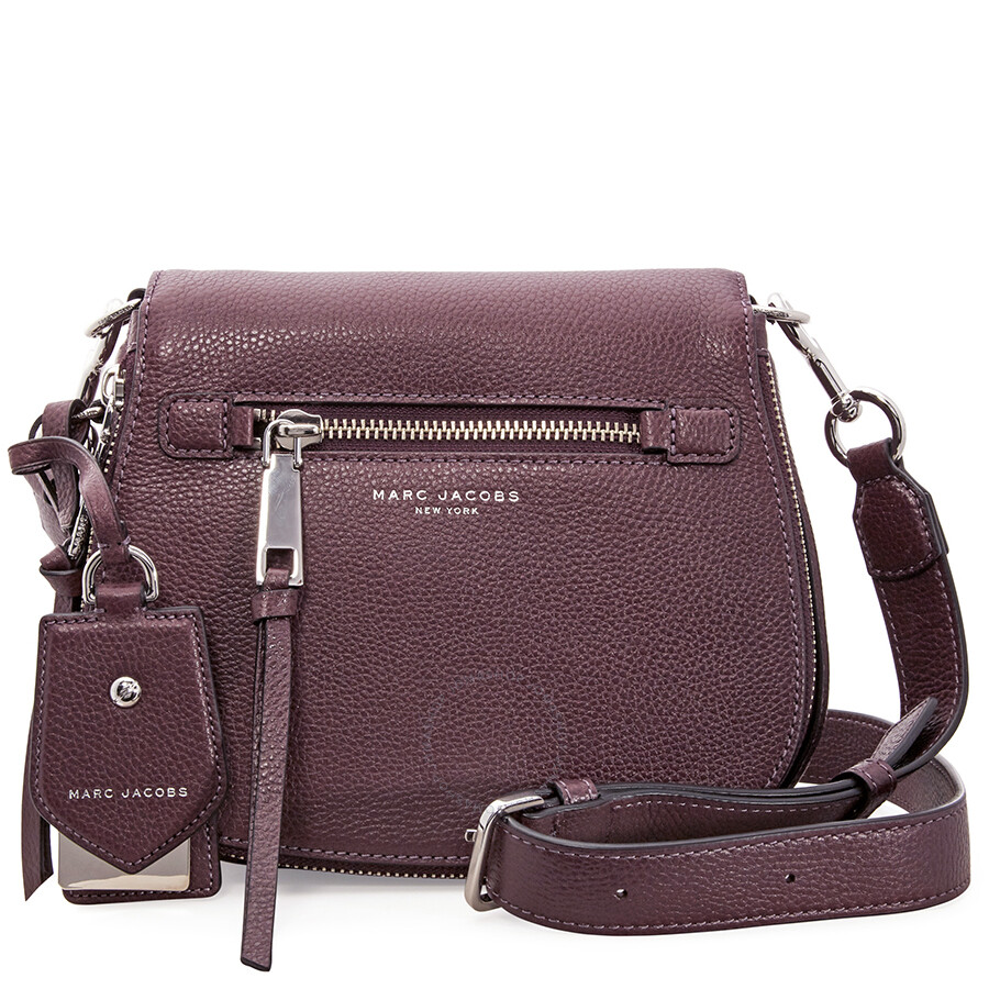 Marc Jacobs Recruit Nomad Small Pebbled Leather Saddle Bag Blackberry