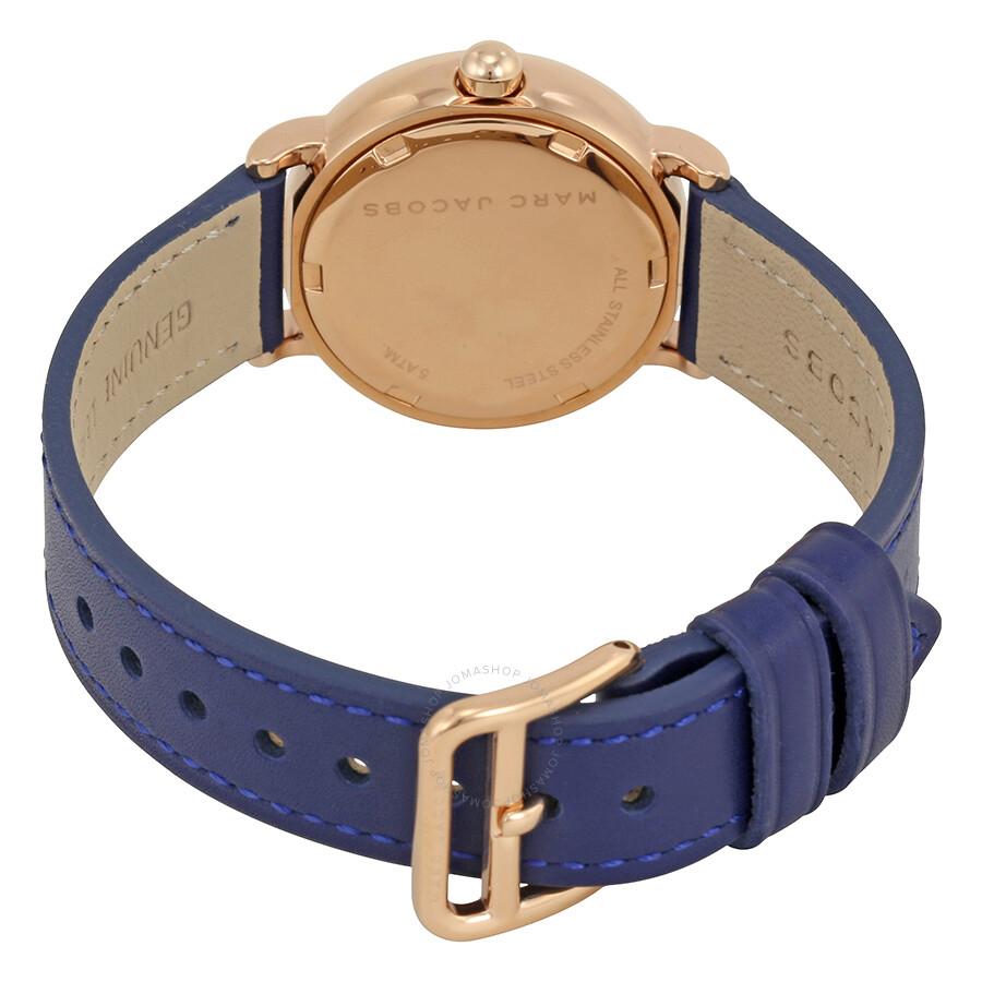 07992da0de59 ... Marc Jacobs Riley Black Dial Navy Blue Leather Strap Ladies Watch MJ1577