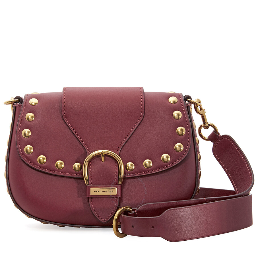 8a35d96671ec Marc Jacobs Studded Navigator Shoulder Bag- Cabernet Red Item No.  M0012153-619