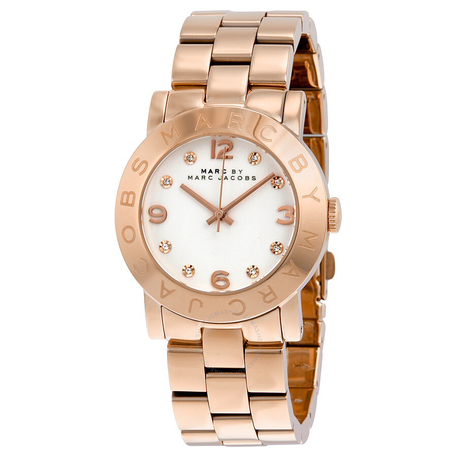 00192824353cd Marc by Marc Jacobs White Dial Rose Gold-Tone Ladies Watch MBM3077 ...