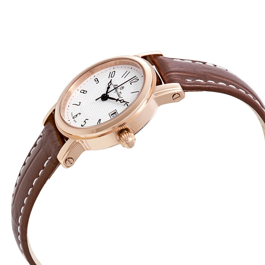 City White Dial Brown Leather Ladies Watch D31186PG