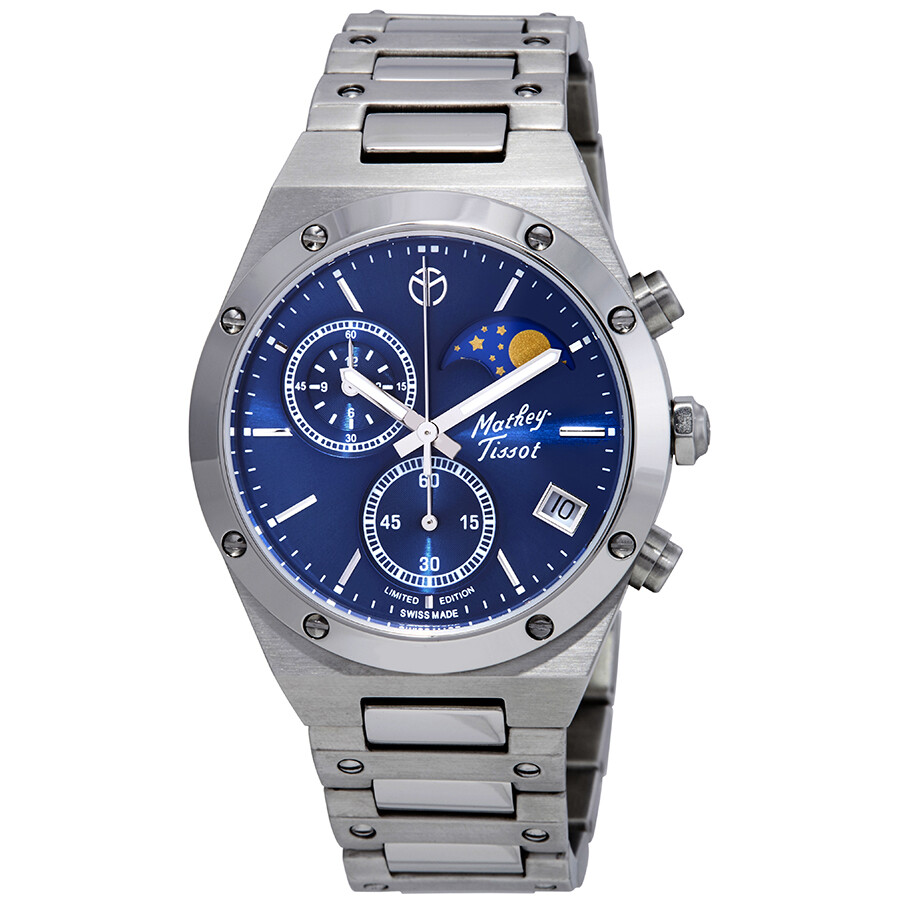 Mathey Tissot Elisir Chronograph Blue Dial Men S Limited Edition Watch H680chabu