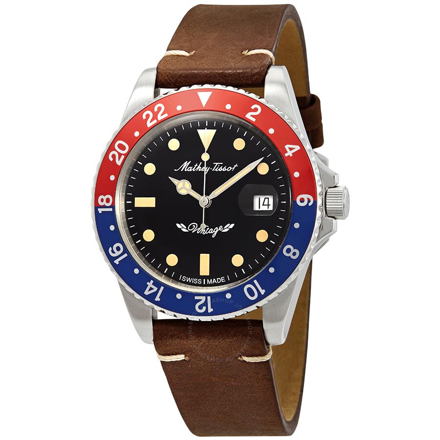 cf6b5c64597 Mathey-Tissot Rolly Vintage Automatic Black Dial Pepsi Bezel Men s Watch  H901ATLR ...