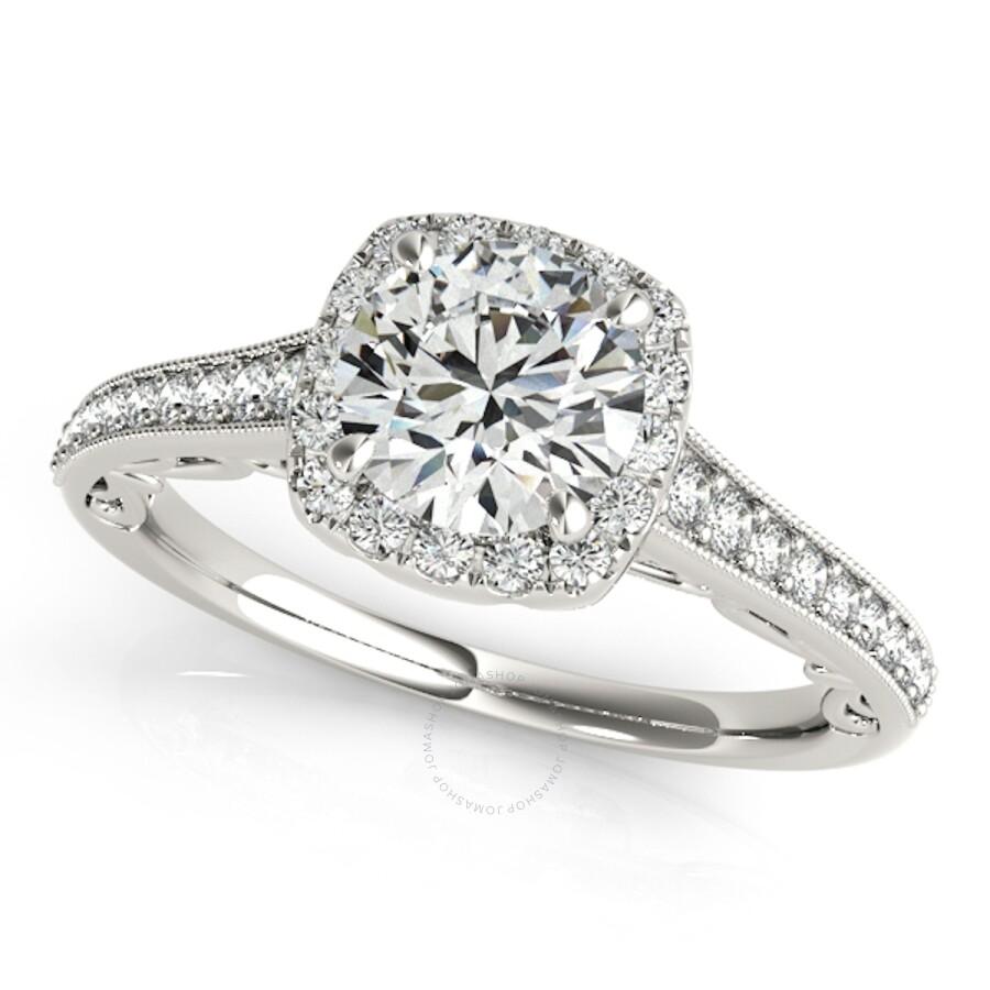 Maulijewels 1 Carat Halo Diamond Engagement Ring 14k White Gold Maulijewels Ladies Jewelry Jewelry Jomashop