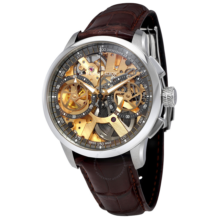 Maurice lacroix skeleton dial chronograph men 39 s watch mp7128 ss001 500 masterpiece maurice for Maurice lacroix watches