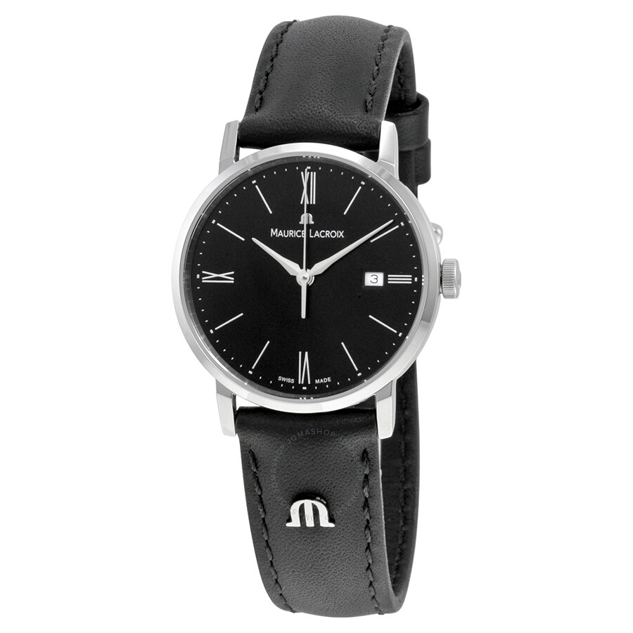 Maurice lacroix eliros date black dial black leather strap ladies quartz watch el1084 ss001 310 for Maurice lacroix watches