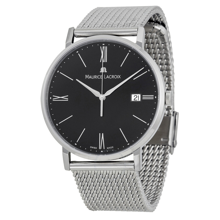 Maurice lacroix eliros date black dial stainless steel men 39 s watch el1087 ss002 310 eliros for Maurice lacroix watches