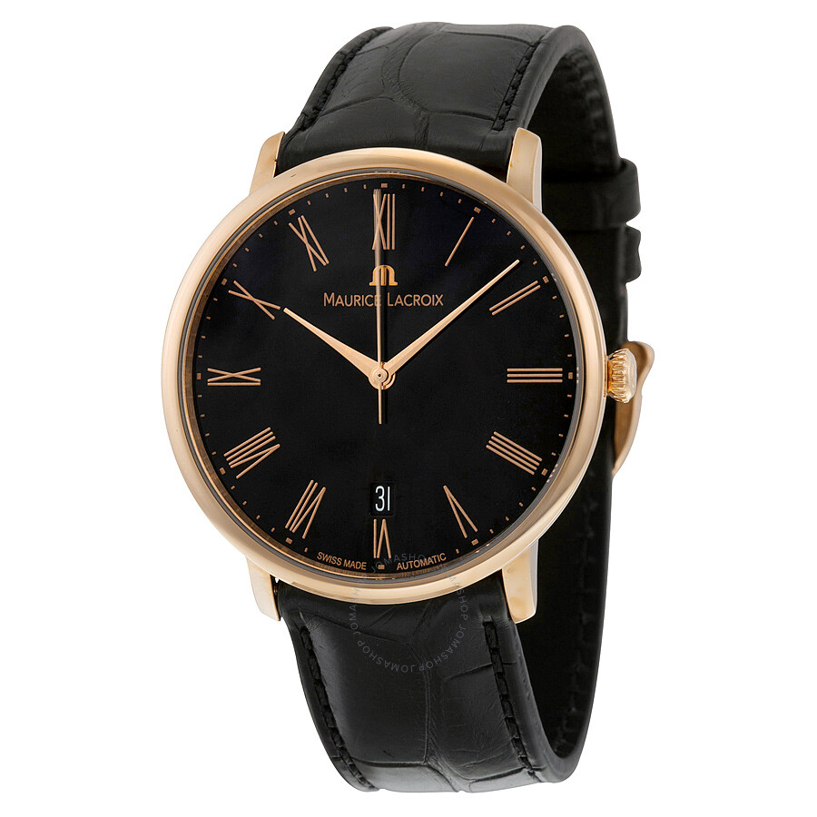 Maurice lacroix les classiques automatic black dial 18kt rose gold men 39 s watch lc6007 pg101 310 for Maurice lacroix watches