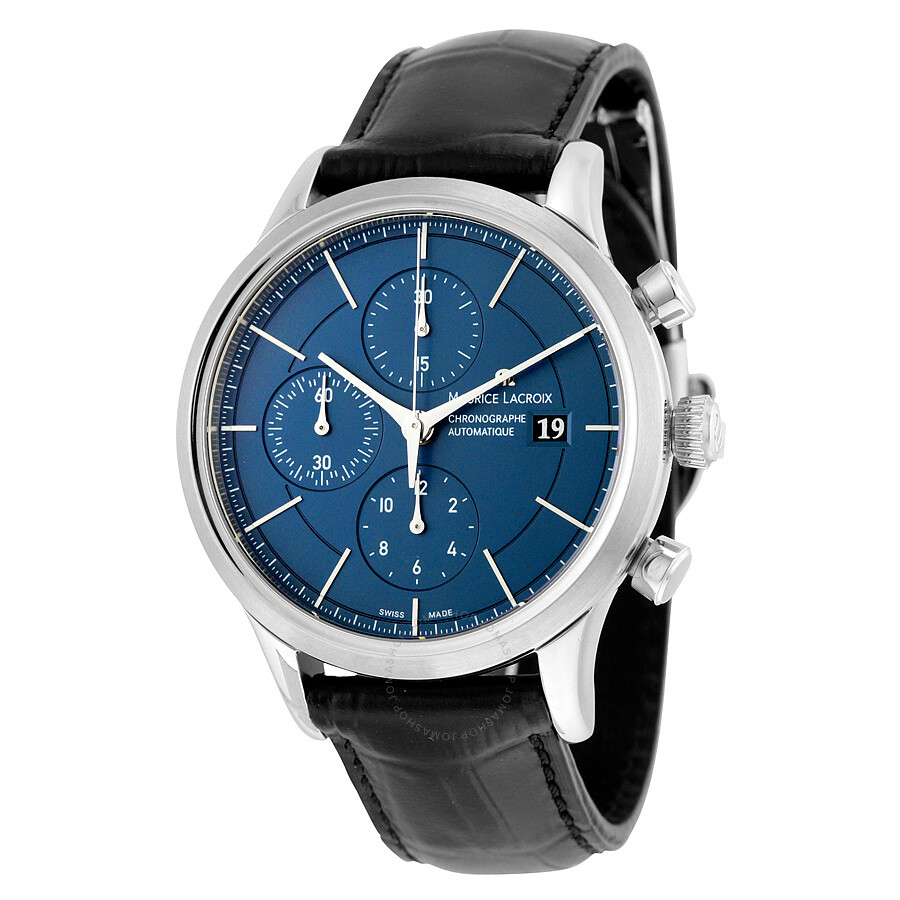 Maurice lacroix les classiques automatic chronograph blue dial black leather strap men 39 s watch for Maurice lacroix watches