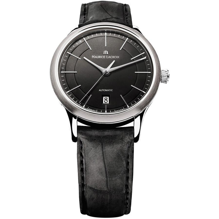 866c3f76d93fa Maurice Lacroix Les Classiques Automatic Date Black Dial Black Calfskin  Leather Automatic Men's Watch Item No. LC6017-SS001-330