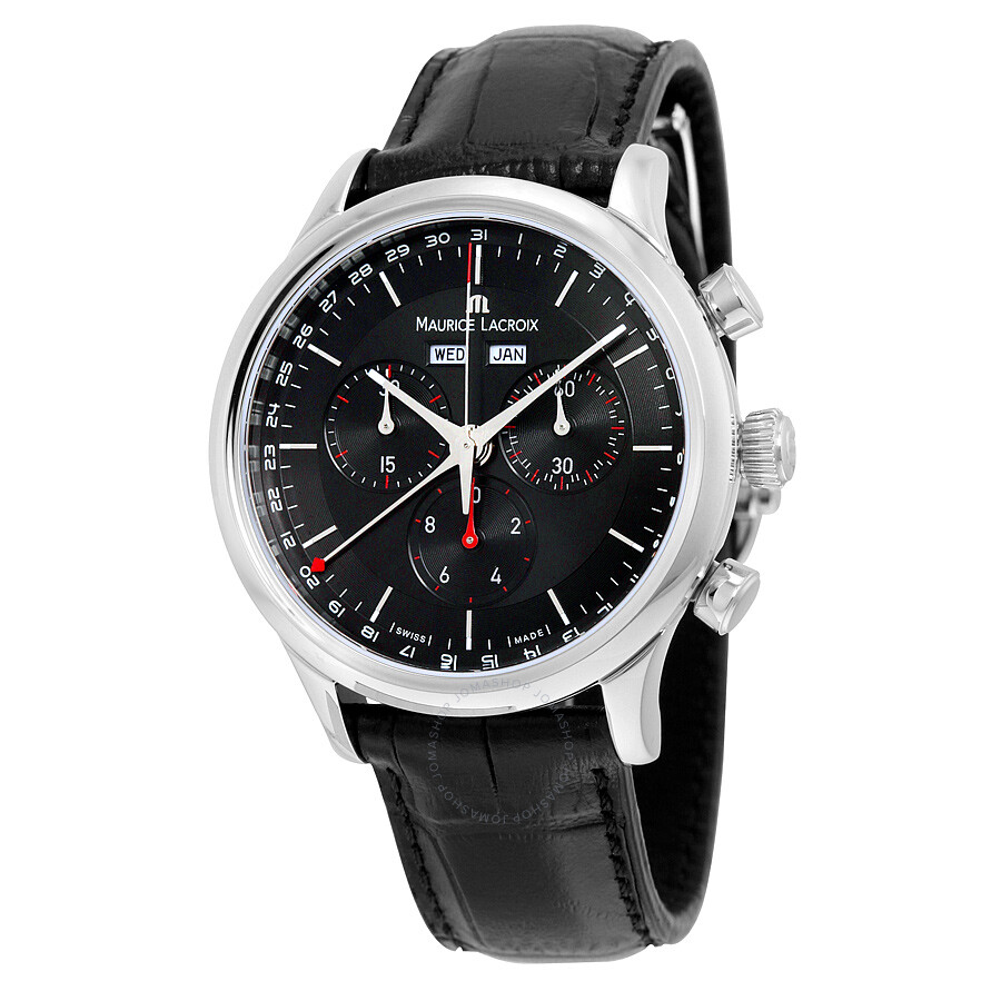 Maurice lacroix les classiques chronograph black dial black leather men 39 s watch lc1228 ss001 331 for Maurice lacroix watches
