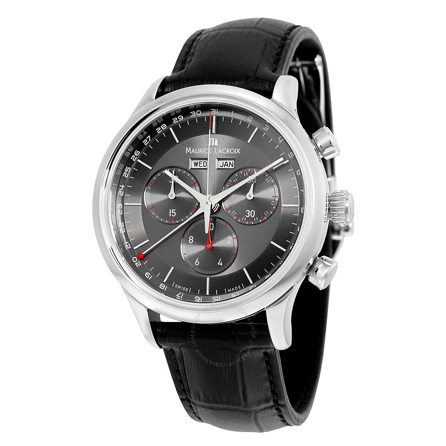 Maurice lacroix les classiques chronograph grey dial black leather men 39 s watch lc1228 ss001 330 for Maurice lacroix watches