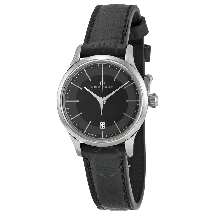 Maurice lacroix les classiques date black dial black leather ladies quartz watch lc1113 ss001 for Maurice lacroix watches