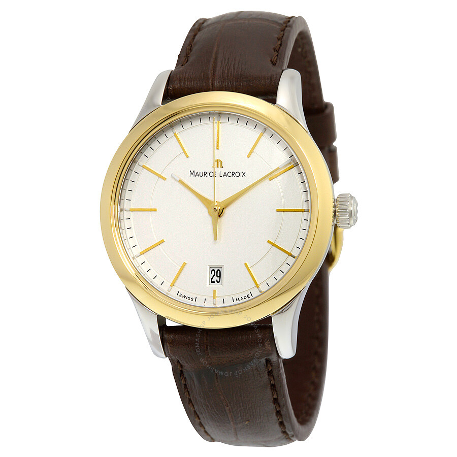 Maurice lacroix les classiques date ladies silver dial brown leather ladies quartz watch lc1026 for Maurice lacroix watches