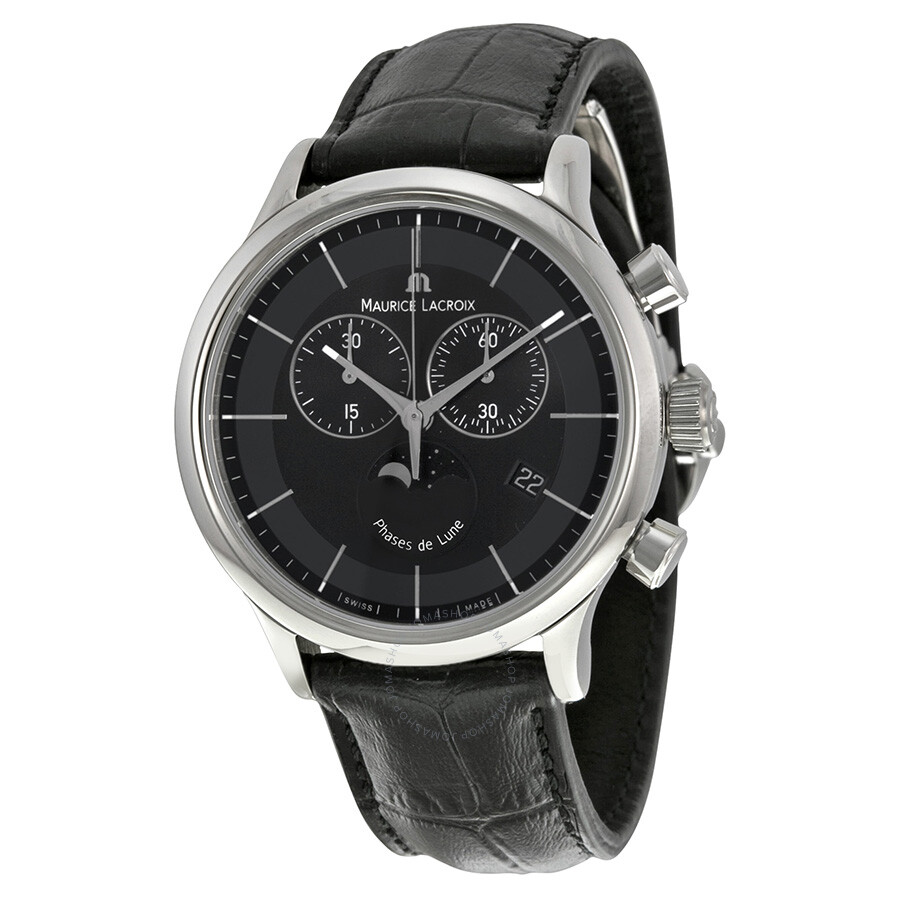 Maurice lacroix les classiques phase de lune chronograph black dial black leather men 39 s watch for Maurice lacroix watches