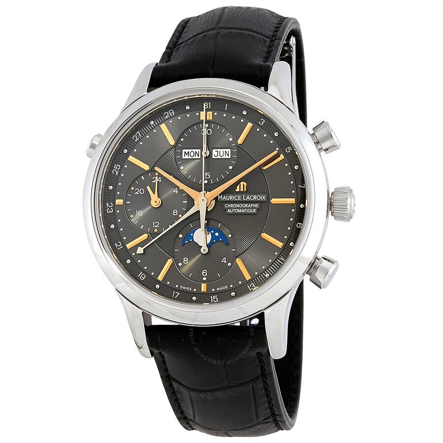 premium selection designer fashion 100% authentic Maurice Lacroix Les Classiques Phase de Lune Chronograph Grey Dial Black  Leather Men's Automatic Watch LC6078-SS001-331