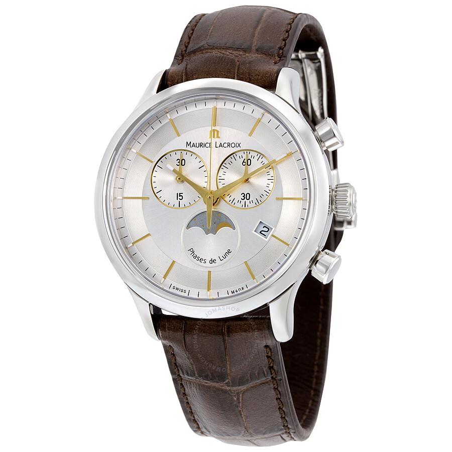 Maurice lacroix les classiques phase de lune chronograph men 39 s watch lc1148 ss001 132 les for Maurice lacroix watches