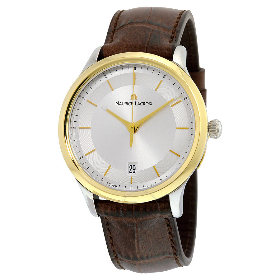 Maurice lacroix les classiques quartz date silver dial brown leather men 39 s quartz watch lc1237 for Maurice lacroix watches