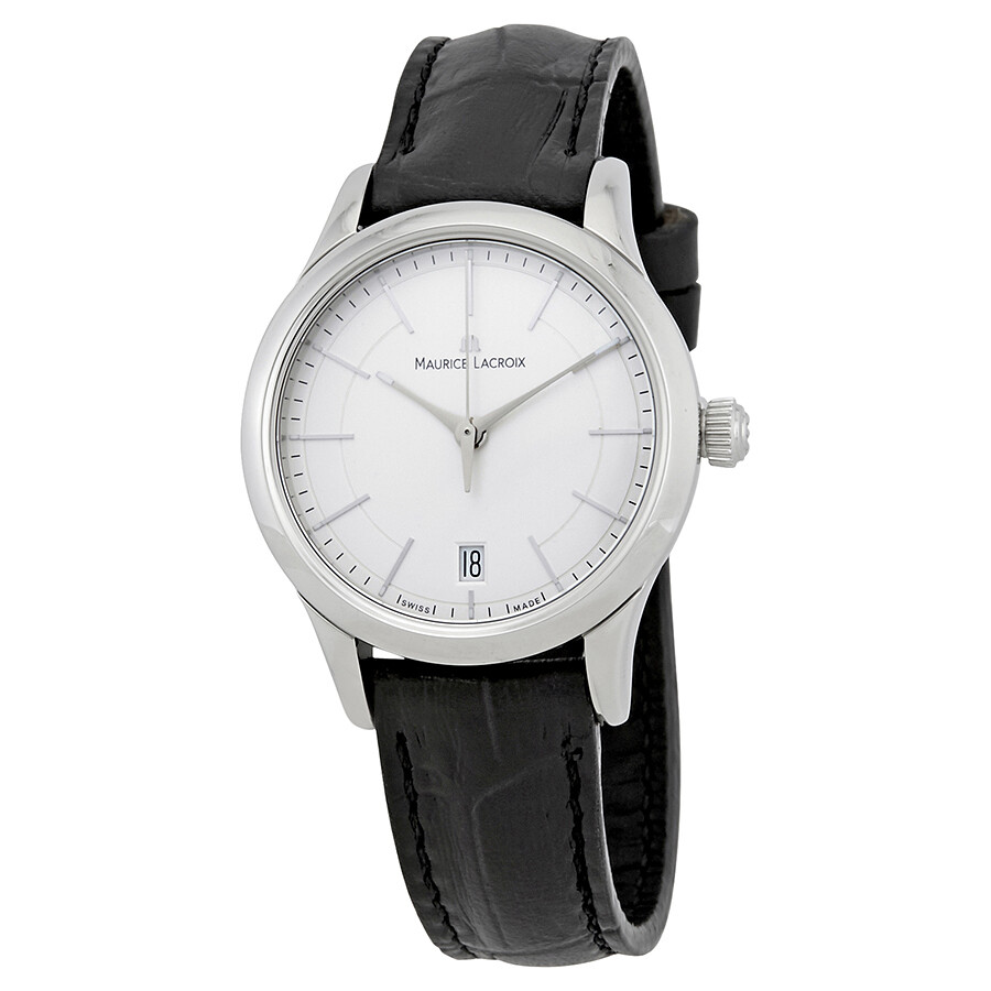 Maurice lacroix les classiques silver dial black leather band ladies quartz watch lc1026 ss001 for Maurice lacroix watches