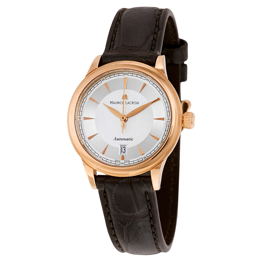 Maurice lacroix les classiques silver dial brown leather automatic ladies watch lc6003 pg101 130 for Maurice lacroix watches