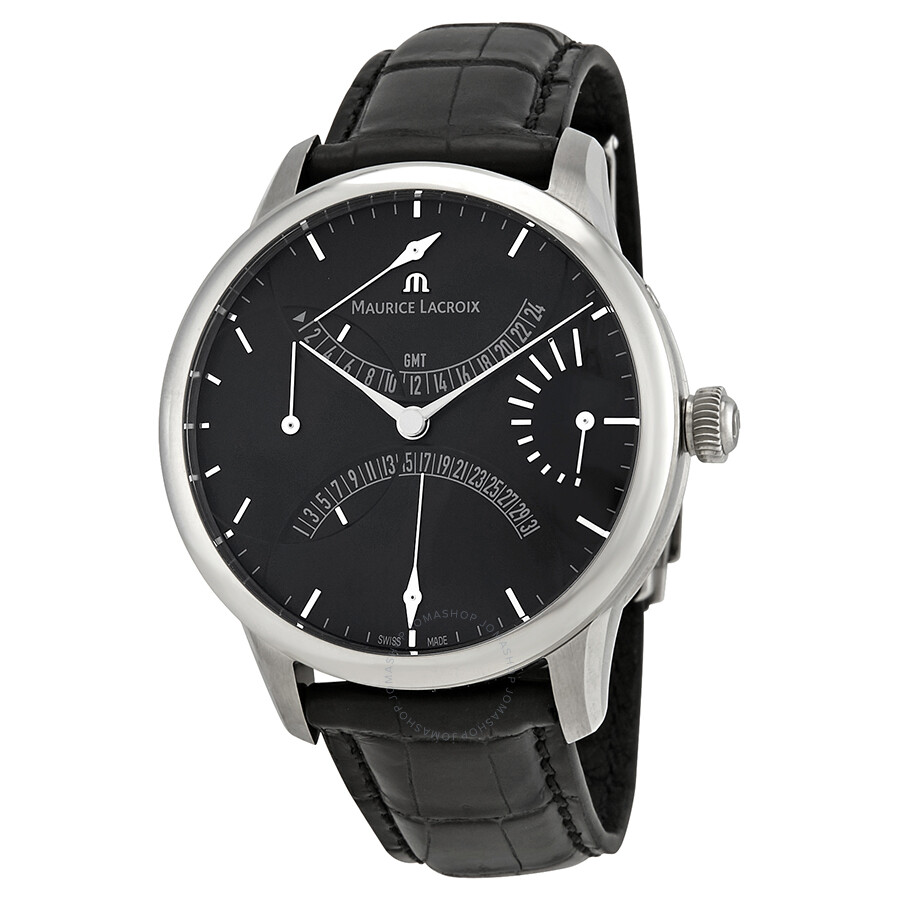 Maurice lacroix masterpiece calendrier retrograde automatic black dial men 39 s watch mp6518 ss001 for Maurice lacroix watches