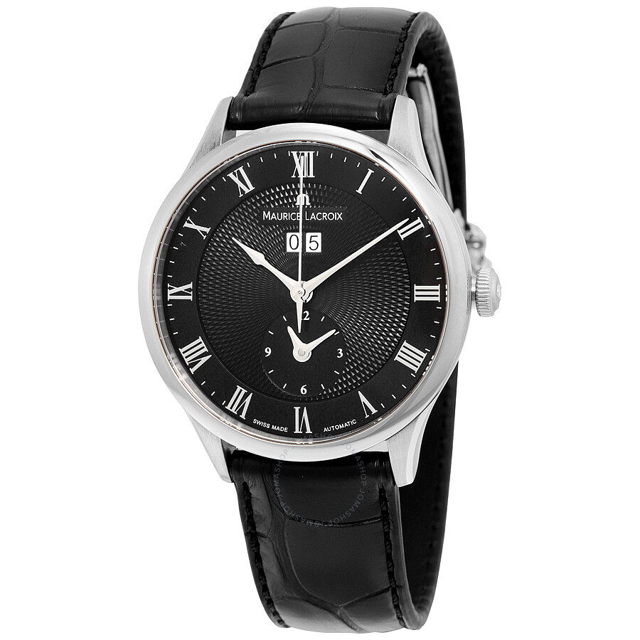 Maurice lacroix masterpiece tradition automatic black dial black leather men 39 s watch mp6707 for Maurice lacroix watches