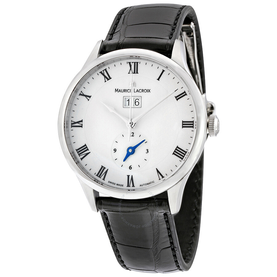 Maurice lacroix masterpiece tradition white dial gmt black leather men 39 s watch mp6707 ss001 112 for Maurice lacroix watches