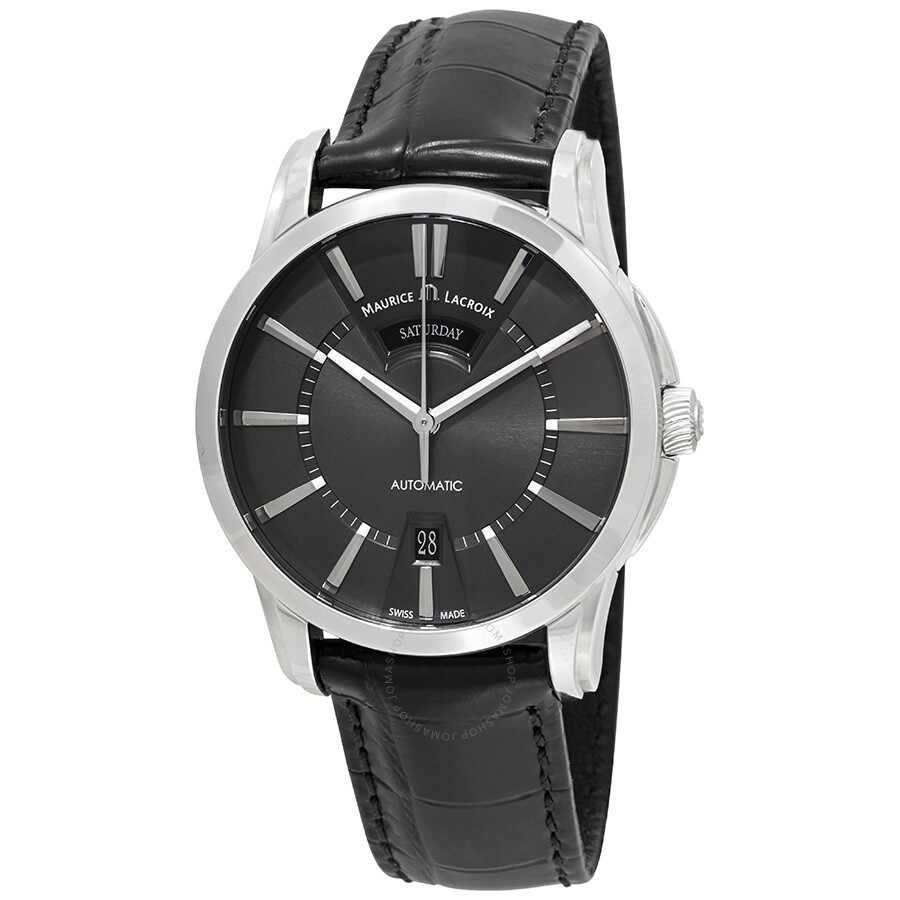 Maurice lacroix pontos day date automatic grey dial men 39 s watch pt6158 ss001 23e pontos for Maurice lacroix watches