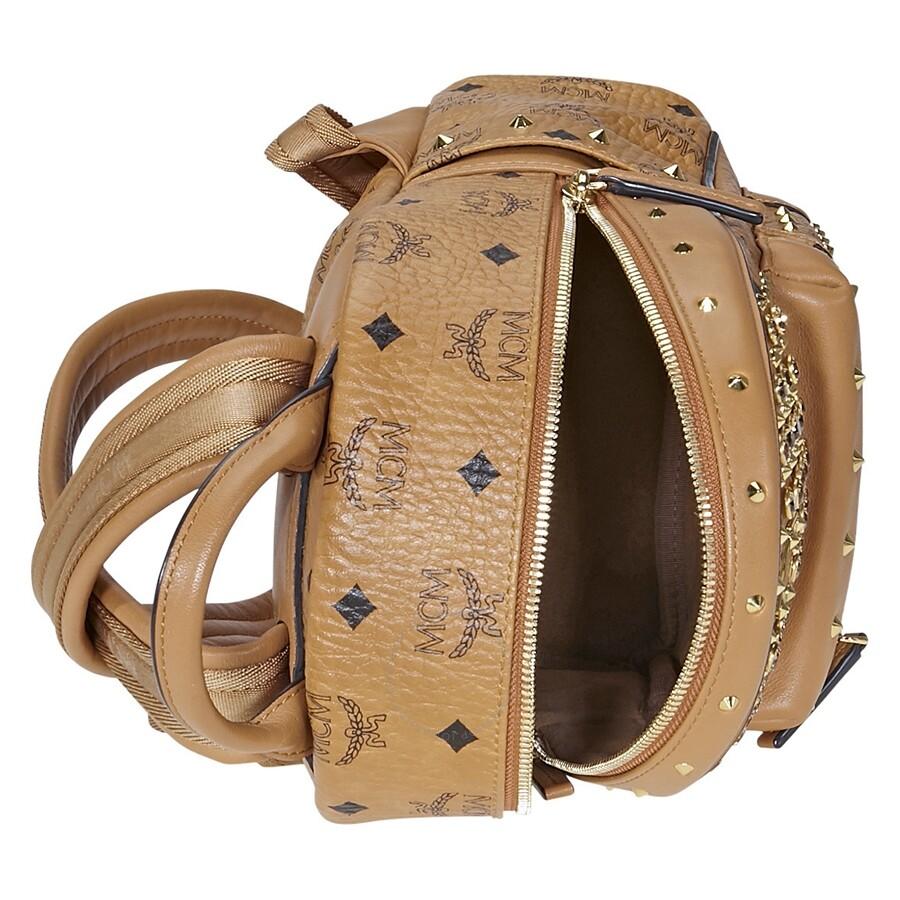b77b7e9396c9 MCM Diamond Visetos Mini Backpack- Cognac - MCM - Handbags - Jomashop