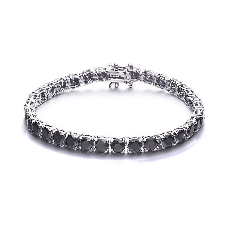 eadaa33e5d97c Megan Walford Sterling Silver Black Plated CZ Tennis Bracelet