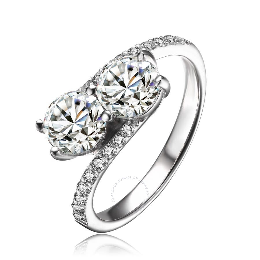 Clear Center Cubic Zirconia Twisted Ring Rhodium Plated Sterling Silver