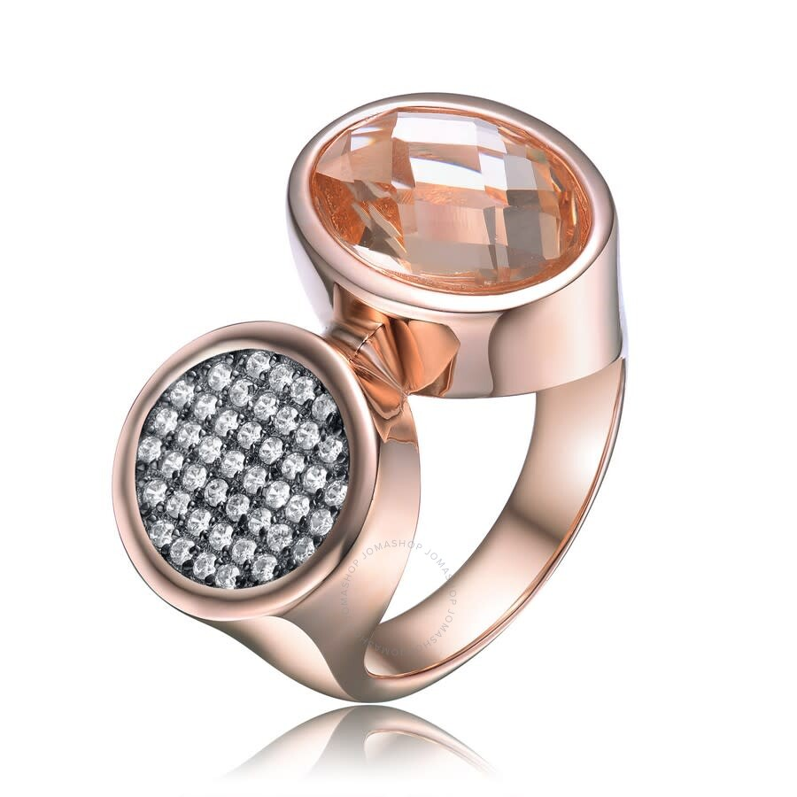 Megan Walford Sterling Silver with Rose Plated Morganite Oval Cubic  ZirconiaTwo Head Cocktail Ring
