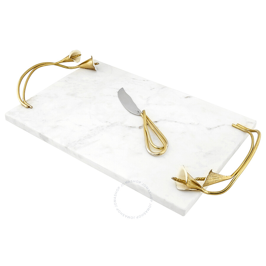 Michael Aram Marble Calla Lily Cheese Board With Knife