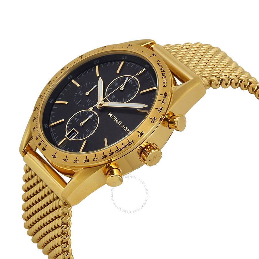 michael kors accelerator chronograph black gold tone
