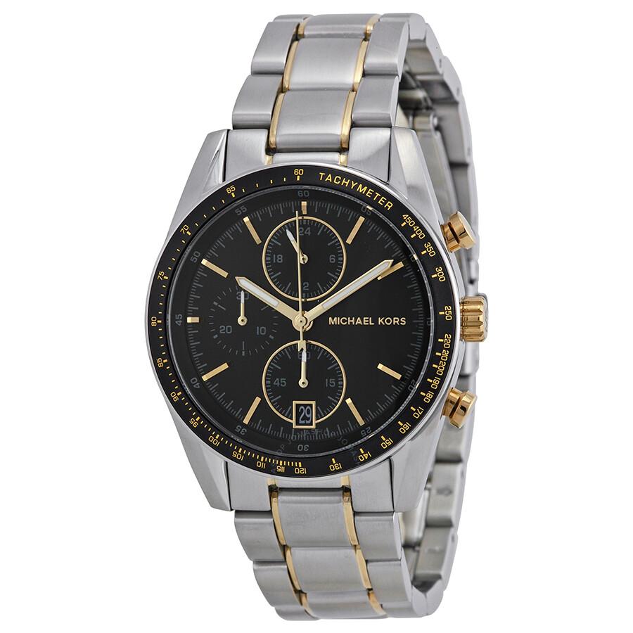 michael kors accelerator chronograph black stainless
