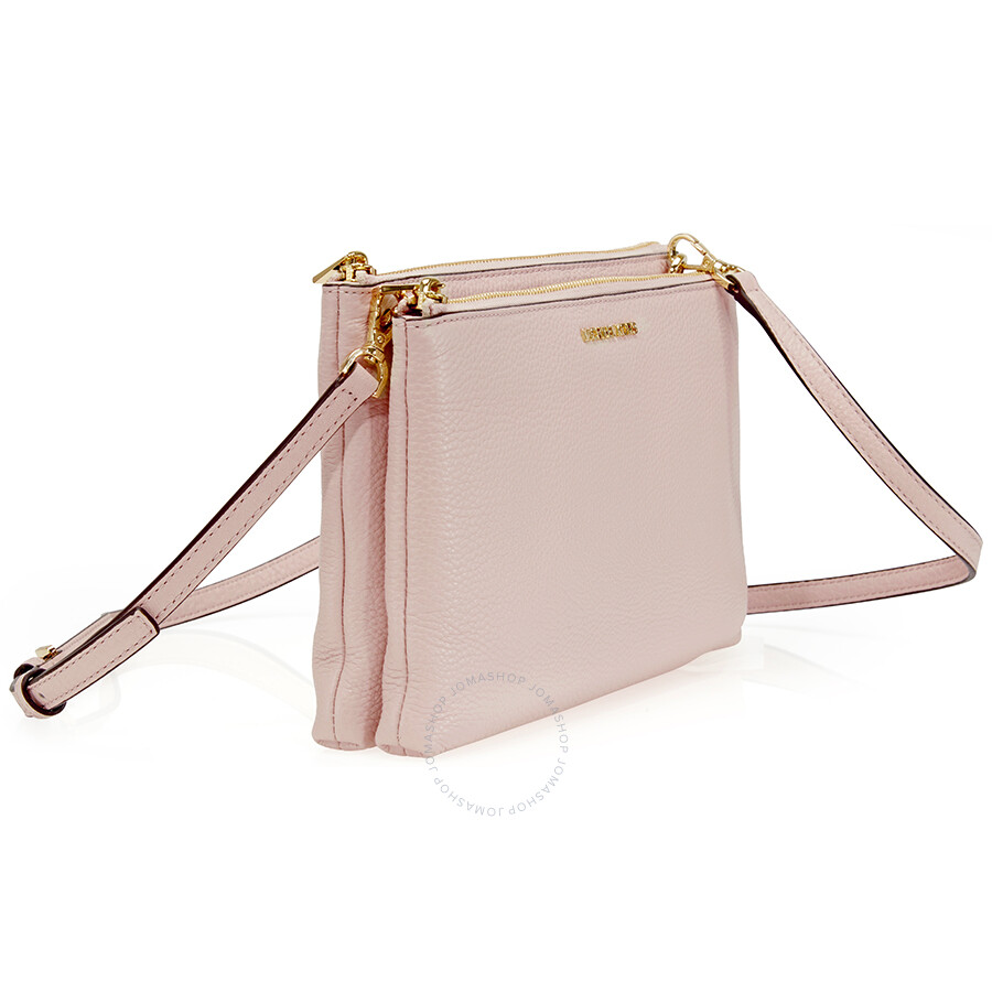 b025950257 ... Michael Kors Adele Double Gusset Leather Crossbody - Soft Pink ...