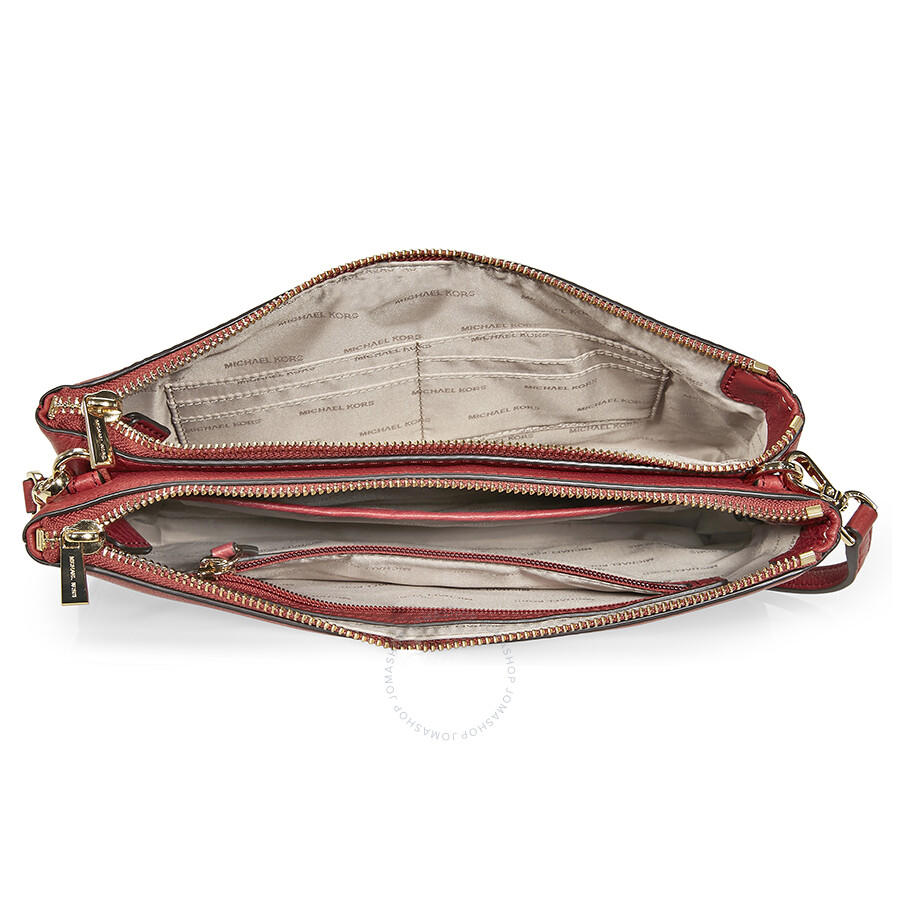 fc1d7b8e3137 Michael Kors Adele Double Zip Crossbody - Burnt Red - Adele ...