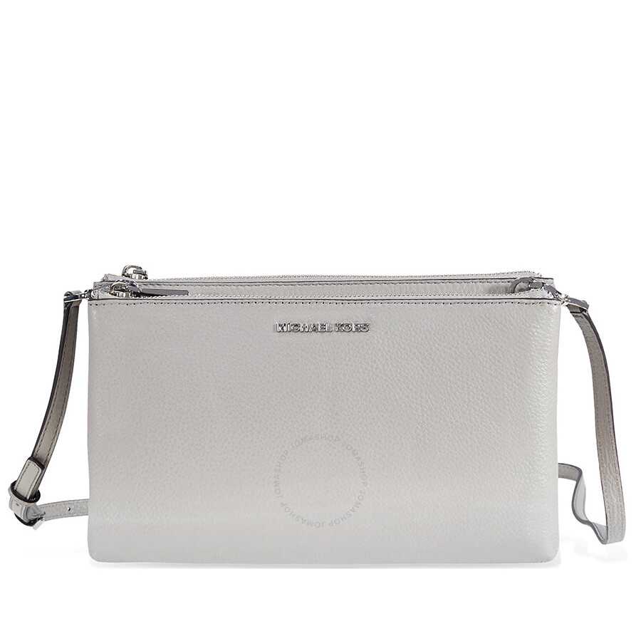 Michael Kors Adele Double-Zip Crossbody Bag - Pearl Grey Item No.  MK32S7SAFC3L-081 9302bf7b0c4f9