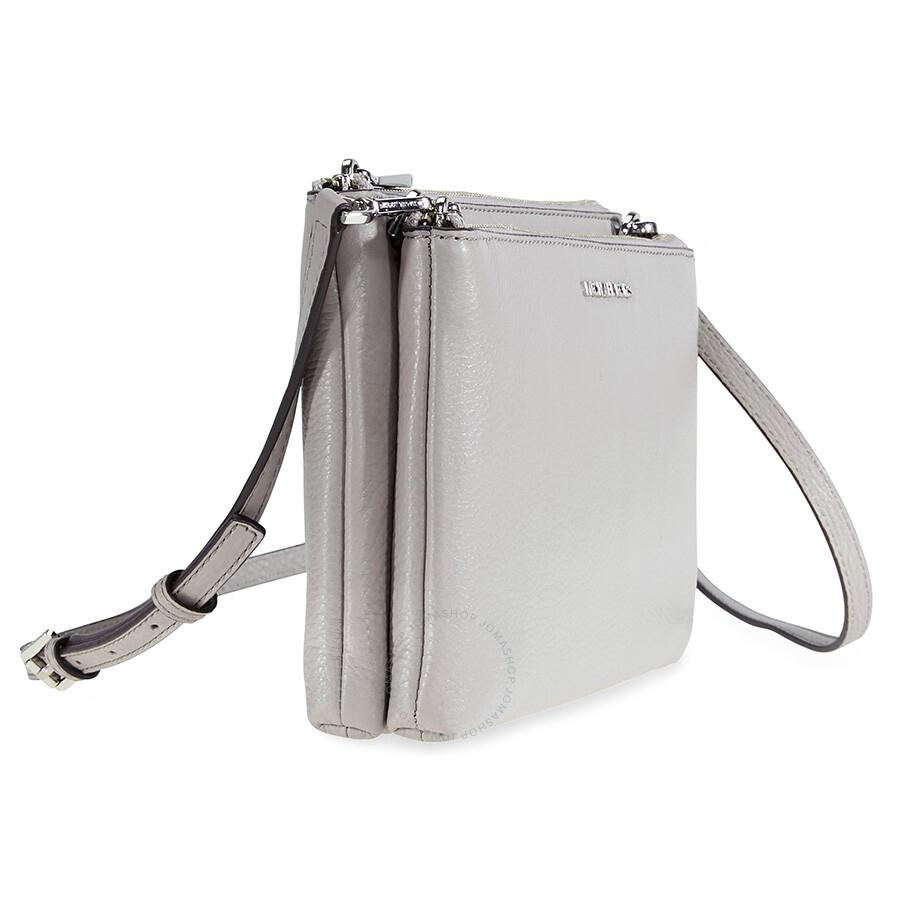 9aef89040c24 Michael Kors Adele Double-Zip Crossbody Bag - Pearl Grey - Adele ...