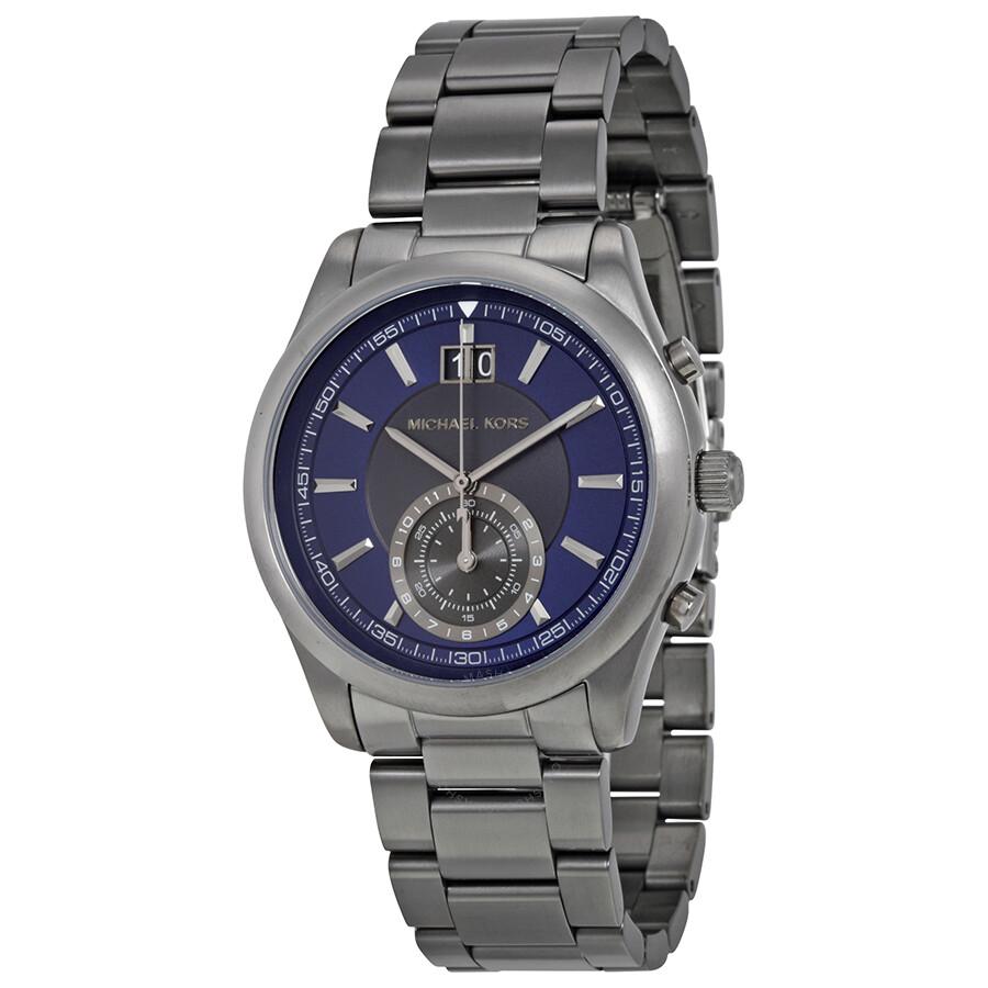 1005627a76a7 Michael Kors Aiden Chronograph Navy Dial Gunmrtal-tone Men s Watch MK8418  ...