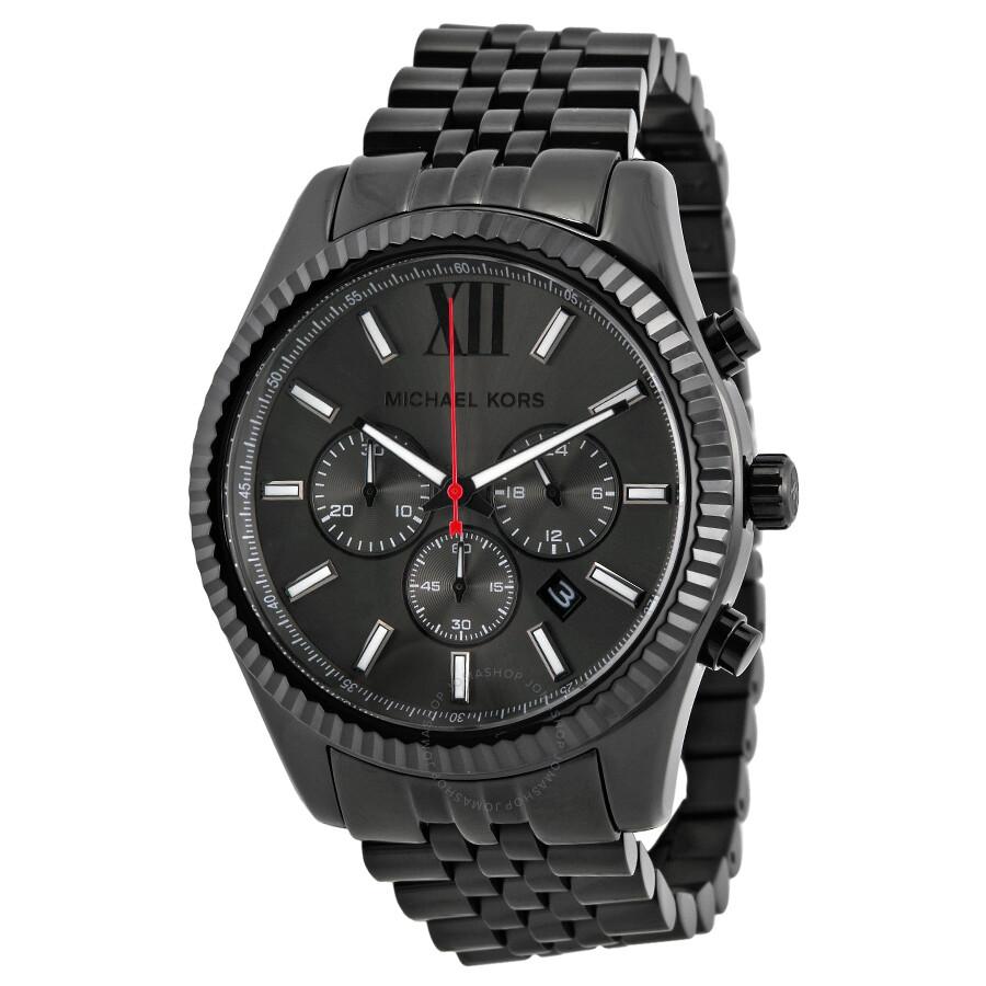 Michael Kors All Black Large Lexington Chronograph Bracelet Watch Mk8320
