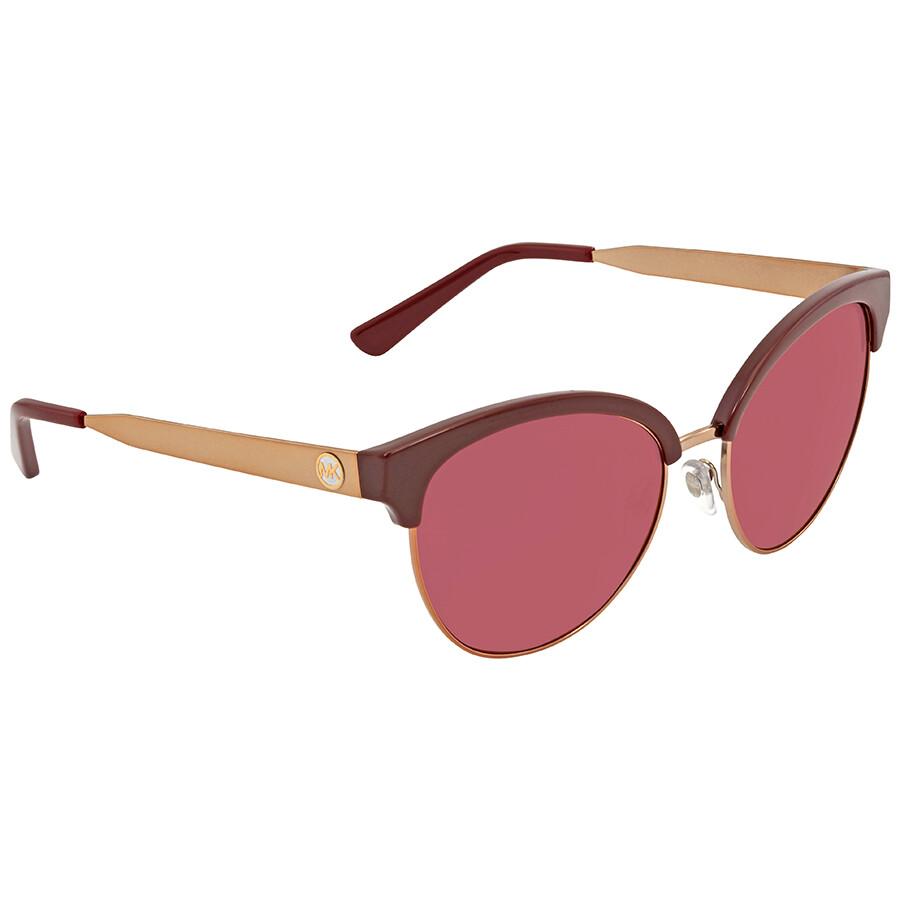 b2593bda700f Michael Kors Amalfi Burgundy Mirror Cat Eye Sunglasses MK2057 3307D0 56 ...