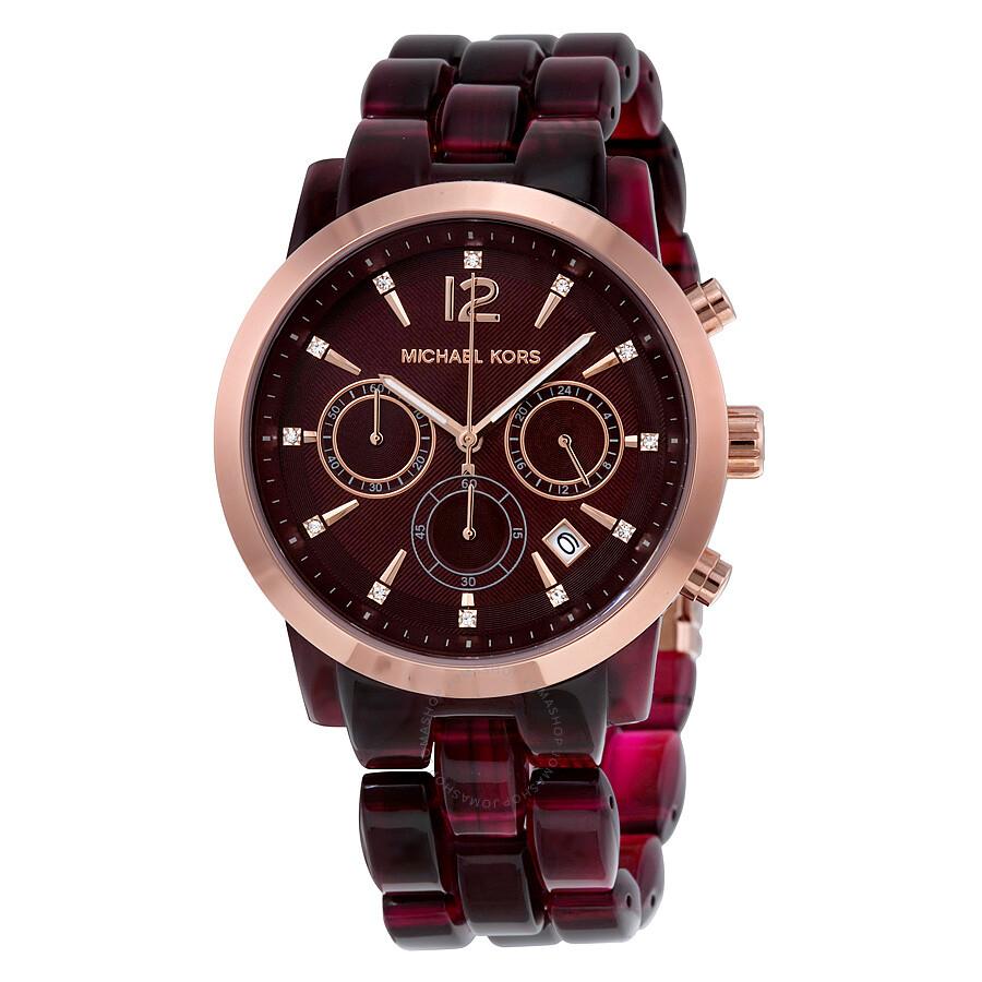 b41e2e3b0501 Michael Kors Audrina Burgundy Dial Chronograph Ladies Watch MK6237 ...