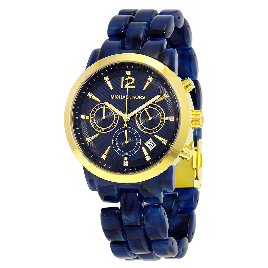 1ed38ed13f47 Michael Kors Audrina Chronograph Blue Dial Blue Acetate Ladies Watch MK6236  ...