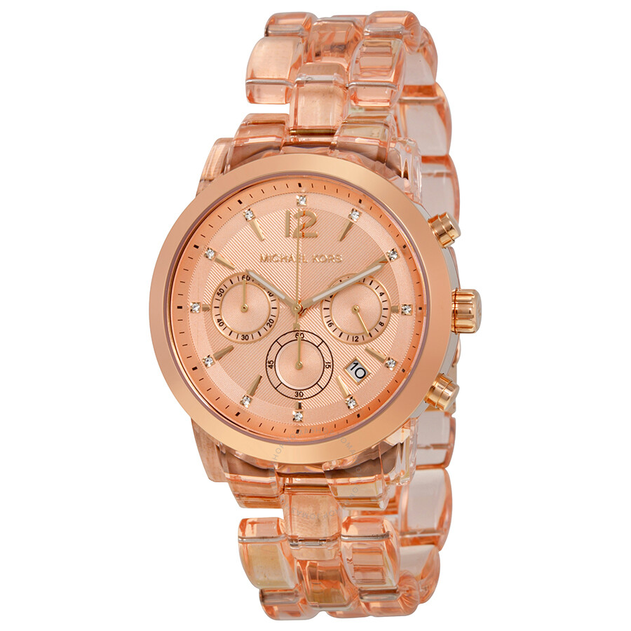 8a86354b0737 Michael Kors Audrina Chronograph Rose Dial Rose Acetate Ladies Watch MK6203  ...