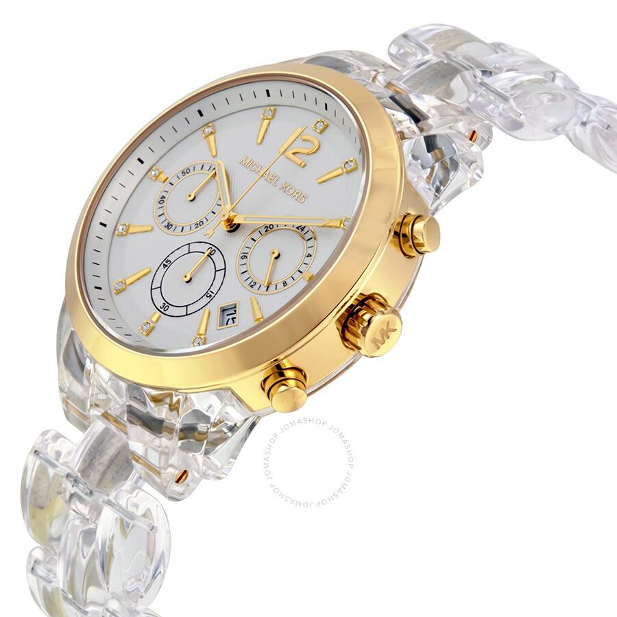 b2e36f267c63 ... Michael Kors Audrina Gold-tone Case Clear Acetate Bracelet Chronograph  Ladies Watch MK6200 ...